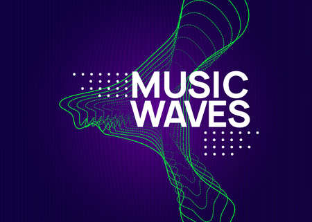 Abstract music. Dynamic fluid shape and line. Digital show brochure design. Abstract music flyer. Techno dj party. Electro dance event. Electronic trance sound. Club poster.