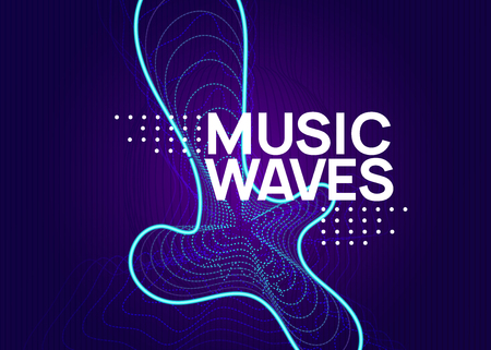 Abstract music. Dynamic fluid shape and line. Minimal show brochure concept. Abstract music flyer. Techno dj party. Electro dance event. Electronic trance sound. Club poster. Illustration