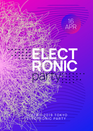 Dj event. Geometric discotheque cover template. Dynamic gradient shape and line. Dj event neon flyer. Techno trance party. Electro dance music. Electronic sound. Club fest poster. Stock Illustratie