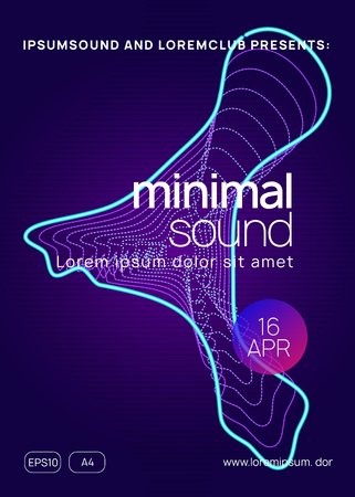Sound flyer. Dynamic gradient shape and line. Curvy discotheque magazine layout. Neon sound flyer. Electro dance music. Electronic fest event. Club dj poster. Techno trance party.