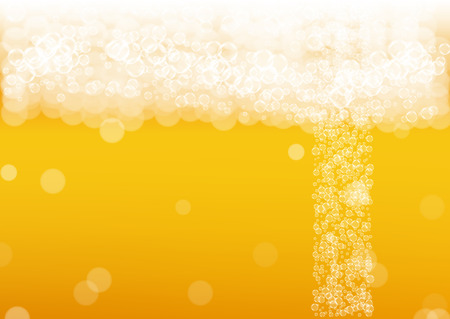 Beer background. Craft lager splash. Oktoberfest foam. Pale pint of ale with realistic white bubbles. Cool liquid drink for pub menu layout. Golden glass with beer background.