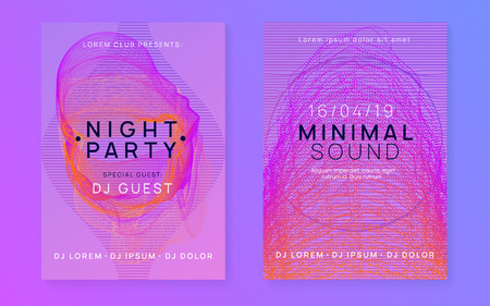 Night music. Dynamic fluid shape and line. Minimal discotheque brochure set. Night music flyer. Electro dance dj. Electronic sound fest. Techno trance party. Club event poster.