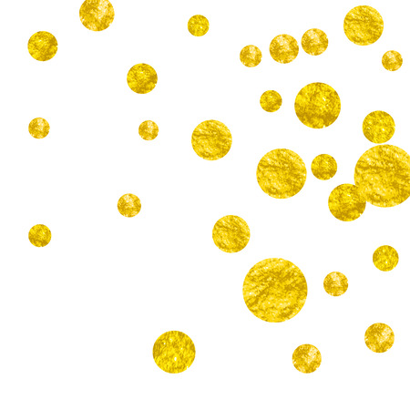 Gold glitter dots confetti on isolated backdrop. Random falling sequins with glossy sparkles. Design with gold glitter dots for party invitation, banner, greeting card, bridal shower.