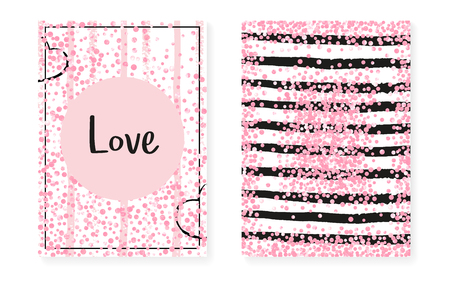 Bridal shower card with dots and sequins. Wedding invitation set with pink glitter confetti. Vertical stripes background. Vintage bridal shower card for party, event, save the date flyer.