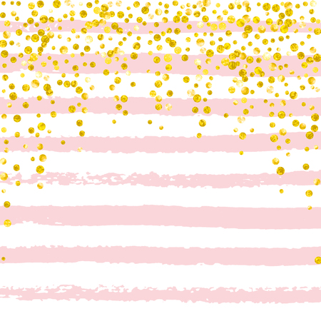 Wedding glitter confetti with dots on pink stripes. Falling sequins with shimmer and sparkles. Design with gold wedding glitter for party invitation, event banner, flyer, birthday card. Ilustrace