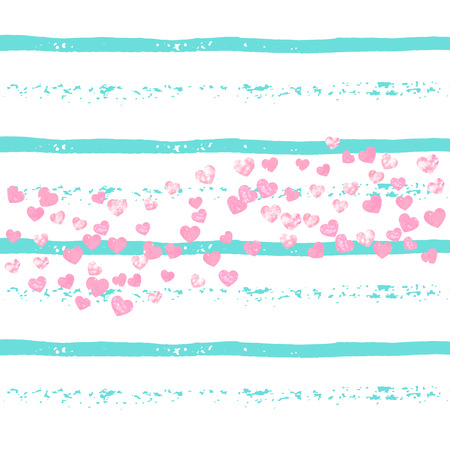 Pink glitter confetti with hearts on turquoise stripes. Shiny random falling sequins with sparkles. Design with pink glitter confetti for party invitation, event banner, flyer, birthday card.  イラスト・ベクター素材