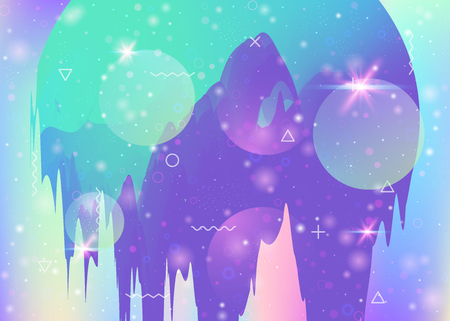 Holographic background with abstract cosmos landscape and future universe. Girlie mountain silhouette with wavy glitch. Futuristic gradient and shape. 3d fluid. Memphis holographic background. Ilustração