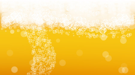 Oktoberfest background. Beer foam. Craft lager splash. Shiny pint of ale with realistic white bubbles. Cool liquid drink for bar banner layout. Gold bottle with oktoberfest. 写真素材 - 122389540