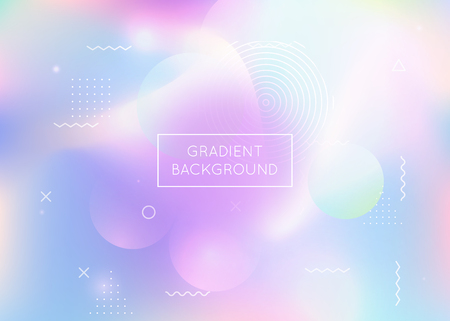 Dynamic shape background with liquid fluid. Holographic bauhaus gradient with memphis elements. Graphic template for flyer, ui, magazine, poster, banner and app. Trendy dynamic shape background.
