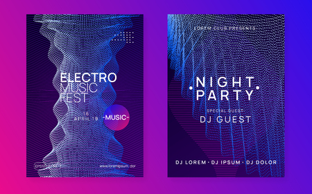 Trance party. Wavy discotheque brochure set. Dynamic gradient shape and line. Neon trance party flyer. Electro dance music. Electronic sound. Club dj poster. Techno fest event. Stock Illustratie