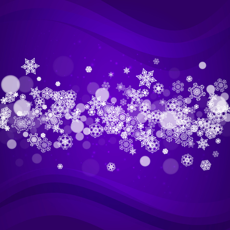 Snow window with ultraviolet snowflakes. New Year snowy backdrop. Winter frame for flyer, gift card, party invite, retail offer and ad. Christmas trendy background. Holiday banner with snow window