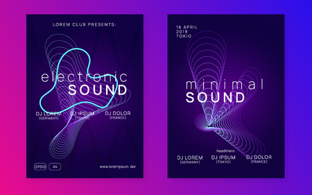 Dj party. Curvy show banner set. Dynamic fluid shape and line. Neon dj party flyer. Electro dance music. Techno trance. Electronic sound event. Club fest poster. Stockfoto - 124559797