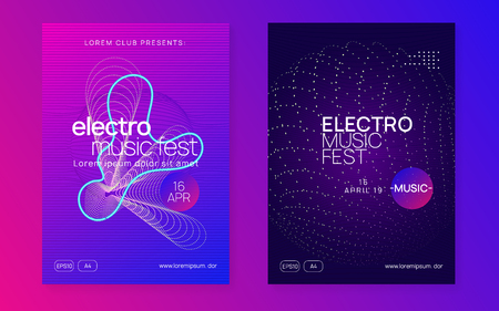 Edm flyer. Dynamic fluid shape and line. Cool concert magazine set. Neon edm flyer. Electro trance music. Techno dj party. Electronic sound event. Club dance poster. Stockfoto - 124559808