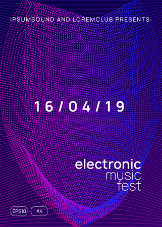 Electronic event. Futuristic show cover concept. Dynamic gradient shape and line. Neon electronic event. Electro dance dj. Trance sound. Club fest poster. Techno music party flyer. Stockfoto - 124559817