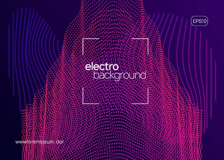 Club flyer. Commercial discotheque banner layout. Dynamic fluid shape and line. Neon club flyer. Electro dance music. Trance party dj. Electronic sound fest. Techno event poster. Иллюстрация