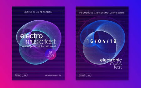 Gradient party flyer. Dynamic fluid shape and line. Energy discotheque brochure set. Gradient party flyer. Electro dance music. Electronic trance sound. Club dj poster. Techno event.