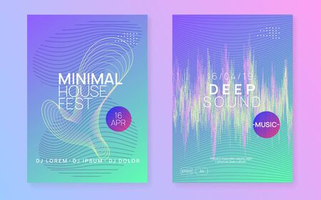 Music fest. Dynamic gradient shape and line. Commercial show banner set. Music fest neon flyer. Electro dance. Electronic trance sound. Techno dj party. Club event poster.