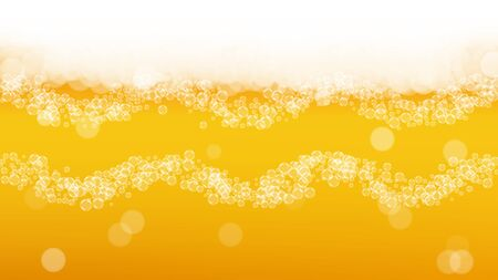 Craft beer background. Lager splash. Oktoberfest foam. Pale pint of ale with realistic white bubbles. Cool liquid drink for pub banner layout. Gold mug with craft beer background. Çizim