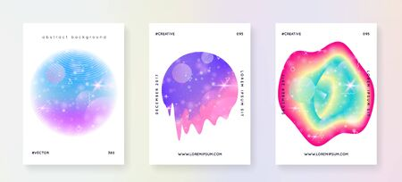 Music fest. Fluid holographic gradient shape and line. Feminine brochure layout set for electro show. Electronic sound. Night dance holiday. Music fest summer poster and flyer.