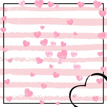 Pink glitter hearts confetti  on white stripes. Falling sequins with metallic shimmer. Template with pink glitter hearts for party invitation, event banner, flyer, birthday card.
