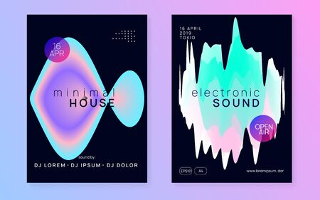 Music fest set. Cool house show brochure layout. Electronic sound. Night dance lifestyle holiday. Fluid holographic gradient shape and line. Summer poster and music fest flyer.