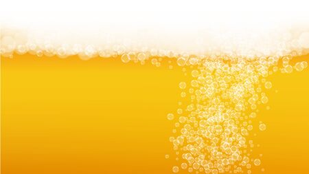 Beer background. Craft lager splash. Oktoberfest foam. bar banner design. Froth pint of ale with realistic white bubbles. Cool liquid drink for Yellow glass with beer background.