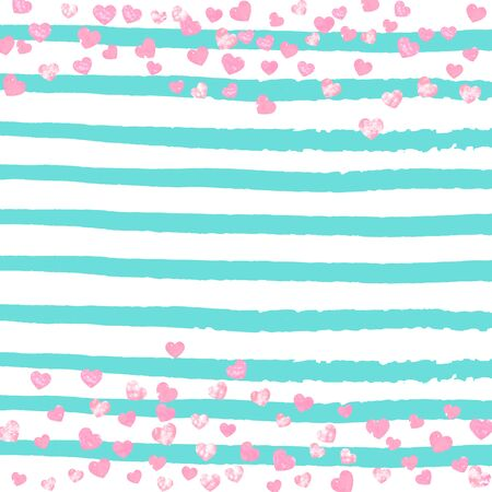 Pink glitter hearts confetti  on turquoise stripes. Falling sequins with glossy sparkles. Template with pink glitter hearts for party invitation, bridal shower and save the date invite.