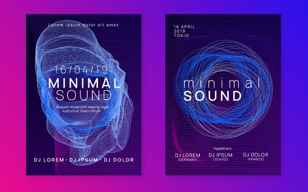Trance event. Dynamic gradient shape and line. Futuristic discotheque cover set. Neon trance event flyer. Techno dj party. Electro dance music. Electronic sound. Club fest poster. Stock Illustratie