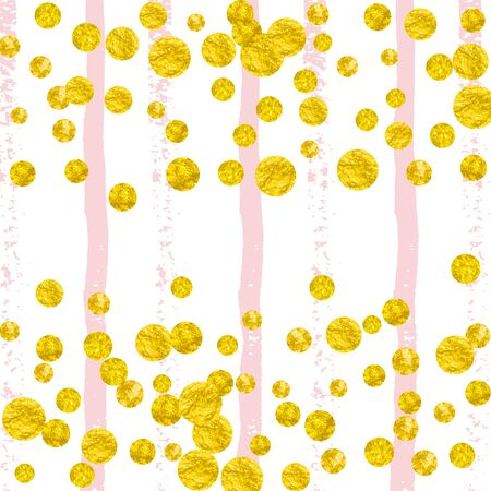 Gold glitter dots confetti on pink stripes. Sequins with metallic shimmer and sparkles. Design with gold glitter dots for party invitation, event banner, flyer, birthday card.