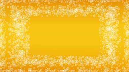 Splash beer. Background for craft lager. Oktoberfest foam. Pour pint of ale with realistic white bubbles. Cool liquid drink for restaurant banner concept. Yellow mug with splash beer.