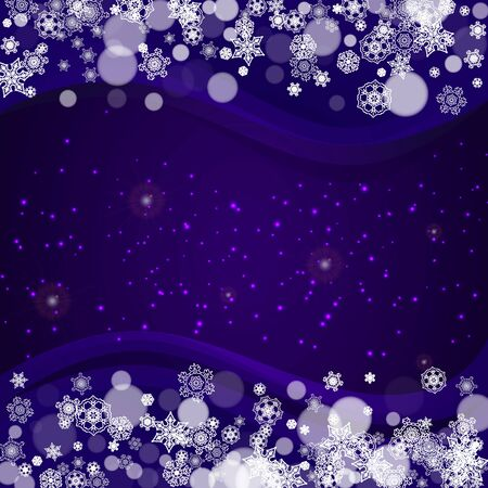 Snow frame with ultraviolet snowflakes. New Year frosty backdrop. Winter border for gift coupons, vouchers, ads, party events. Christmas trendy background. Holiday banner with snow frame