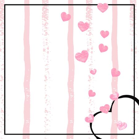 Pink glitter confetti with hearts on pink stripes. Sequins with metallic shimmer and sparkles. Design with pink glitter confetti for party invitation, event banner, flyer, birthday card.