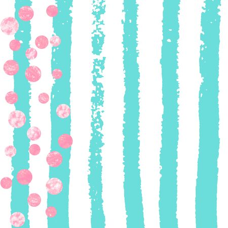 Pink glitter dots confetti on turquoise stripes. Shiny random sequins with metallic sparkles. Template with pink glitter dots for party invitation, banner, greeting card, bridal shower. 일러스트