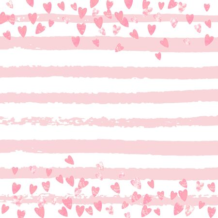 Pink glitter hearts confetti on white stripes. Shiny random falling sequins with shimmer. Template with pink glitter hearts for greeting card, bridal shower and save the date invite.