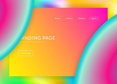 Liquid fluid. Holographic 3d backdrop with modern trendy blend. Vivid gradient mesh. Neon interface, banner composition. Liquid fluid with dynamic elements and shapes. Landing page.