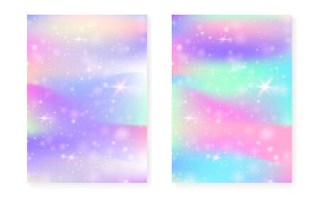 Magic background with princess rainbow gradient. Kawaii unicorn hologram. Holographic fairy set. Stylish fantasy cover. Magic background with sparkles and stars for cute girl party invitation.