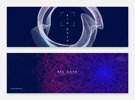 Big data learning. Digital technology abstract background. Artificial intelligence concept. Tech visual for networking template. Geometric big data learning backdrop.