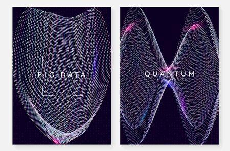 Ordinateur d'innovation quantique. Technologie digitale. Intelligence artificielle, apprentissage en profondeur et concept de mégadonnées. Visuel technique pour le modèle de système. Toile de fond informatique d'innovation quantique moderne. Vecteurs