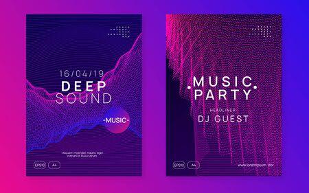 Sound flyer. Geometric concert invitation set. Dynamic fluid shape and line. Neon sound flyer. Electro dance music. Electronic fest event. Club dj poster. Techno trance party.