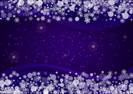 Xmas theme sale with ultraviolet snowflakes. New Year snowy backdrop. Winter border for gift coupons, vouchers, ads, party events. Christmas trendy background. Holiday banner for xmas theme  イラスト・ベクター素材
