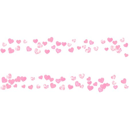 Pink glitter hearts confetti on isolated backdrop. Sequins with metallic shimmer and sparkles. Template with pink glitter hearts for party invitation, event banner, flyer, birthday card. Stock Illustratie