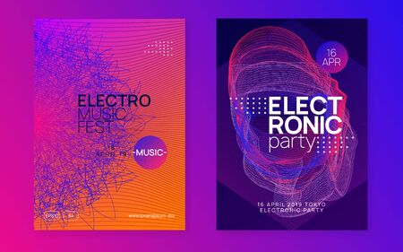Music flyer. Dynamic fluid shape and line. Energy show magazine set. Neon music flyer. Electro dance dj. Electronic sound fest. Techno trance party. Club event poster.