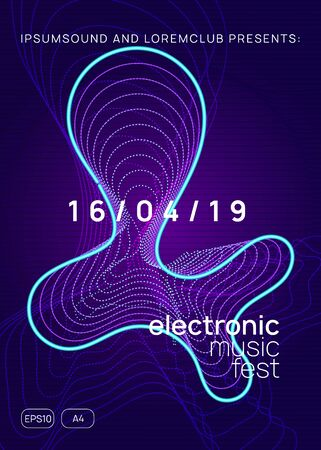 Trance event. Curvy concert banner concept. Dynamic gradient shape and line. Neon trance event flyer. Techno dj party. Electro dance music. Electronic sound. Club fest poster.