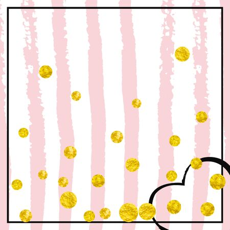 Gold glitter dots confetti on pink stripes. Shiny random falling sequins with sparkles. Template with gold glitter dots for party invitation, event banner, flyer, birthday card.