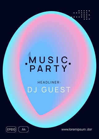Music flyer. Modern indie club presentation template. Fluid holographic gradient shape and line. Electronic sound. Night dance lifestyle holiday. Poster for summer fest and music flyer.