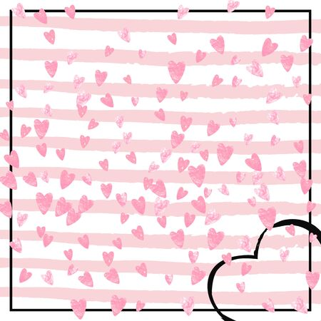 Pink glitter hearts confetti on white stripes. Falling sequins with glossy sparkles. Template with pink glitter hearts for party invitation, banner, greeting card, bridal shower.