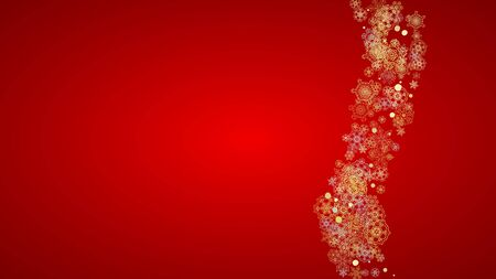 Christmas snow on red background. Glitter frame for winter banners, gift coupon, voucher, ads, party event. Santa Claus colors with golden Christmas snow. Horizontal falling snowflakes for holiday Illustration