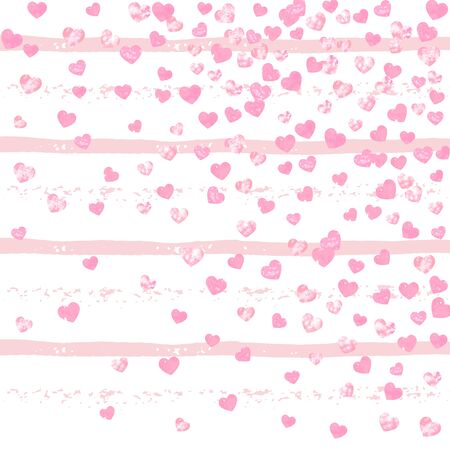 Pink glitter hearts confetti on white stripes. Shiny falling sequins with shimmer and sparkles. Design with pink glitter hearts for party invitation, bridal shower and save the date invite. Фото со стока - 130780209