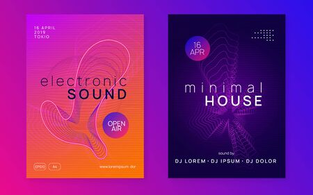 Trance event. Dynamic fluid shape and line. Bright discotheque cover set. Neon trance event flyer. Techno dj party. Electro dance music. Electronic sound. Club fest poster. Stock Illustratie