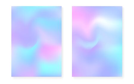Pearlescent background with holographic gradient. Hologram cover set. 90s, 80s retro style. graphic template for brochure, banner, wallpaper, mobile screen. Plastic pearlescent background set. Illusztráció